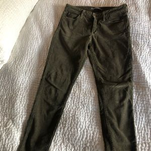 Vince olive green corduroy ankle pants 26